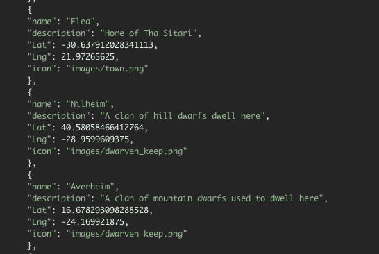 Screenshot of JSON file with coordinates
